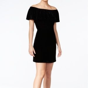 Kensie Velvet Off Shoulder Black Holiday Dress NWT